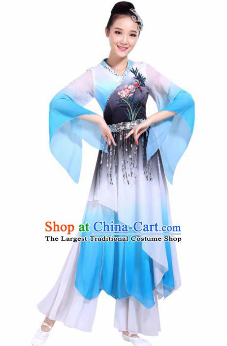 Chinese Traditional Folk Dance Blue Costumes Classical Dance Umbrella Dance Dress for Women