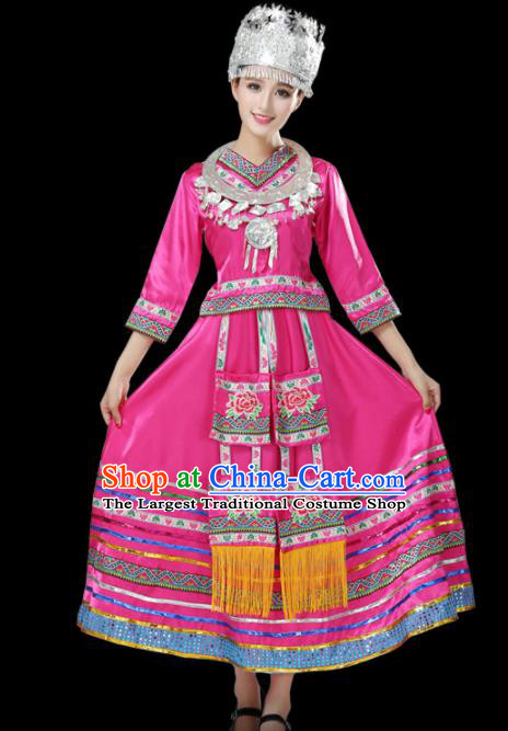 Chinese Hmong Ethnic Minority Pink Dress Traditional Miao Nationality Folk Dance Costumes for Women