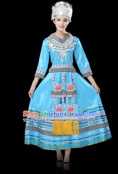 Chinese Hmong Ethnic Minority Blue Dress Traditional Miao Nationality Folk Dance Costumes for Women