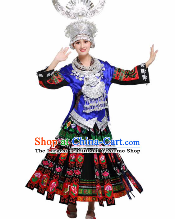 Chinese Hmong Ethnic Minority Dress Traditional Miao Nationality Folk Dance Costumes for Women
