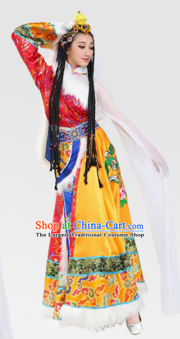 Chinese Traditional Zang Minority Dress Ethnic Folk Dance Costumes for Women