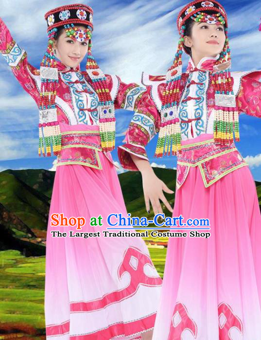 Chinese Traditional Mongolian Minority Pink Dress Ethnic Folk Dance Costumes for Women