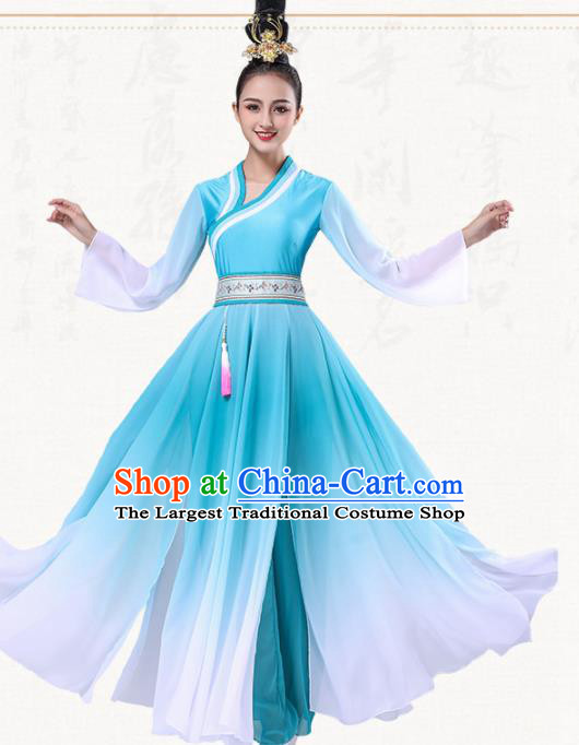 Chinese Traditional Group Dance Blue Dress Classical Dance Umbrella Dance Costumes for Women