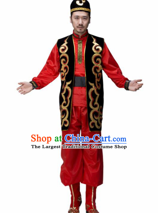 Chinese Traditional Minority Folk Dance Clothing Uyghur Ethnic Dance Red Costumes for Men