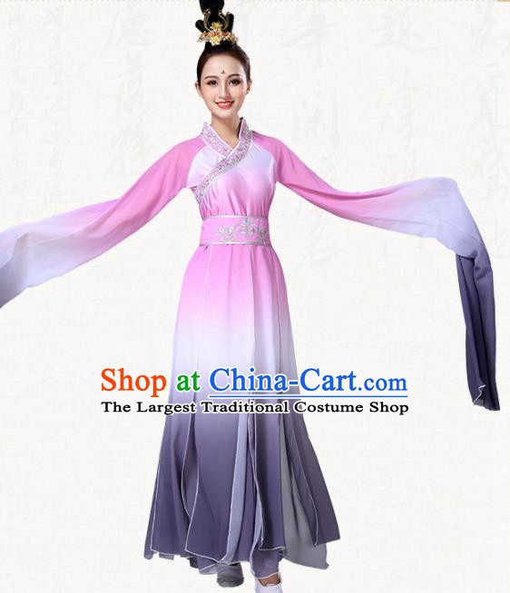 Chinese Traditional Group Dance Pink Dress Classical Dance Umbrella Dance Costumes for Women