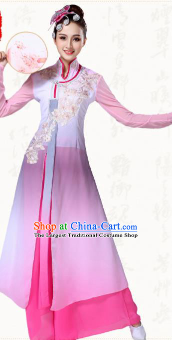 Chinese Traditional Classical Dance Group Dance Pink Dress Umbrella Dance Costumes for Women