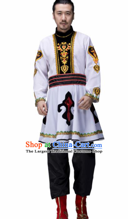 Chinese Traditional Mongolian Minority Folk Dance Clothing Mongol Ethnic Dance White Costumes for Men