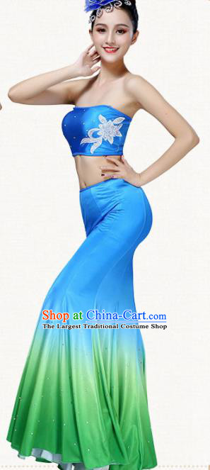 Chinese Traditional Dai Minority Pavane Blue Dress Ethnic Folk Dance Peacock Dance Costumes for Women