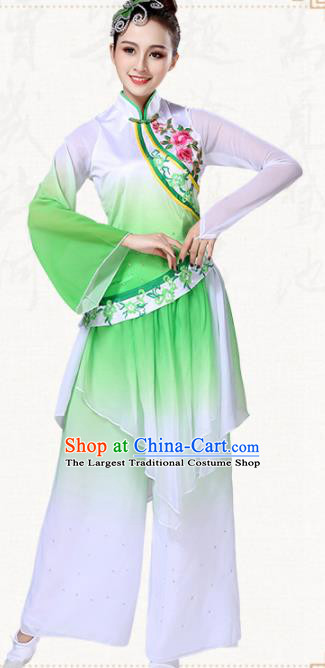 Chinese Traditional Classical Dance Group Dance Green Dress Folk Dance Umbrella Dance Costumes for Women