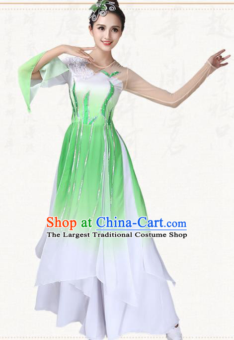 Chinese Traditional Folk Dance Fan Dance Green Dress Umbrella Dance Group Dance Costumes for Women