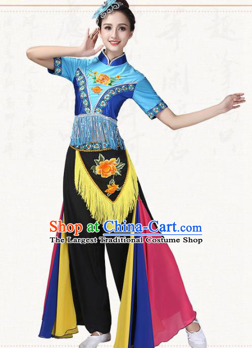 Chinese Traditional Yanko Dance Dress Fan Dance Group Dance Costumes for Women