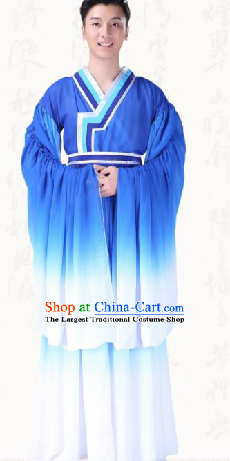 Chinese Traditional Folk Dance Clothing Ancient Classical Dance Blue Costumes for Men