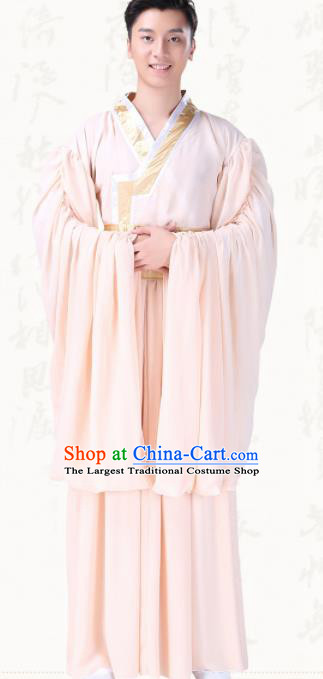 Chinese Traditional Folk Dance Clothing Ancient Classical Dance Pink Costumes for Men