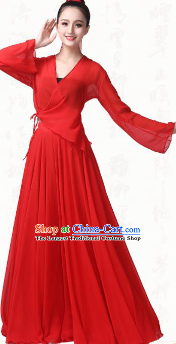 Chinese Traditional Classical Dance Red Chiffon Dress Fan Dance Group Dance Costumes for Women