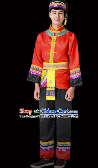 Chinese Traditional Miao Minority Folk Dance Red Clothing Ethnic Dance Costumes for Men