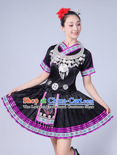 Chinese Ethnic Minority Black Dress Traditional Yi Nationality Folk Dance Costumes for Women