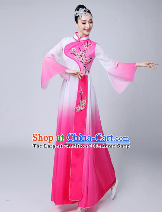 Chinese Traditional Folk Dance Pink Dress Classical Dance Umbrella Dance Costumes for Women