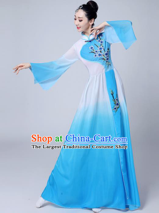 Chinese Traditional Folk Dance Blue Dress Classical Dance Umbrella Dance Costumes for Women