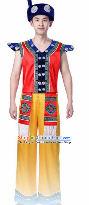 Chinese Traditional Zhuang Minority Folk Dance Clothing Ethnic Dance Red Costumes for Men