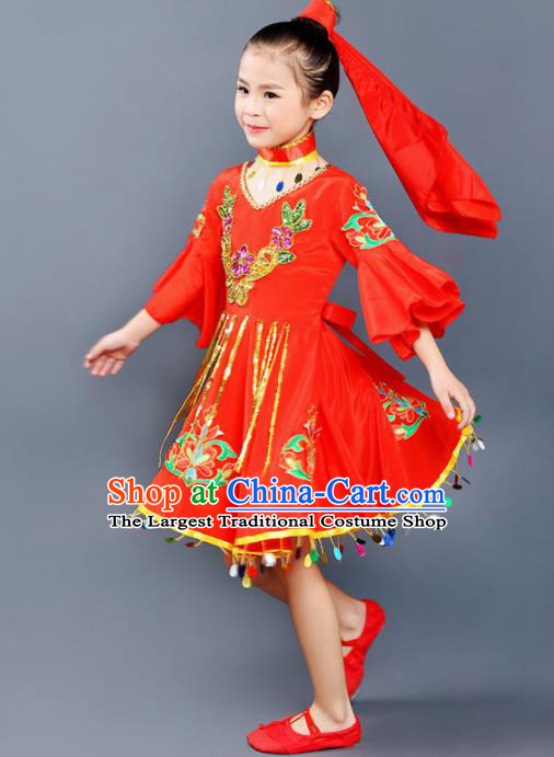 Chinese Traditional Uyghur Minority Folk Dance Clothing Ethnic Dance Red Dress for Kids