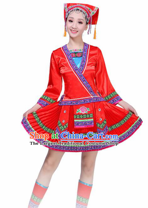 Chinese Yi Ethnic Minority Embroidered Red Dress Traditional Nationality Folk Dance Costumes for Women