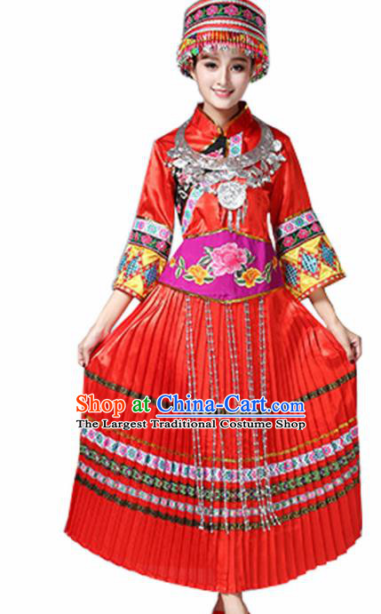 Chinese Miao Ethnic Embroidered Red Dress Traditional Hmong Nationality Folk Dance Costumes for Women