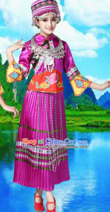 Chinese Miao Ethnic Embroidered Purple Dress Traditional Hmong Nationality Folk Dance Costumes for Women