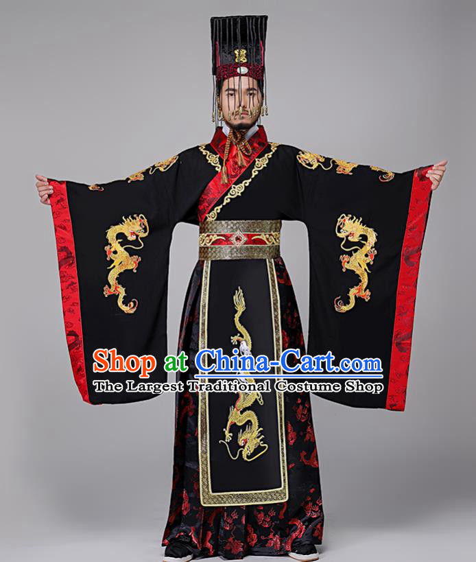 Traditional Chinese Drama Qin Dynasty First Emperor Costumes Ancient Emperor Imperial Robe and Headwear for Men