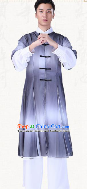 Chinese Traditional Folk Dance Clothing Classical Dance Drum Dance Grey Costumes for Men