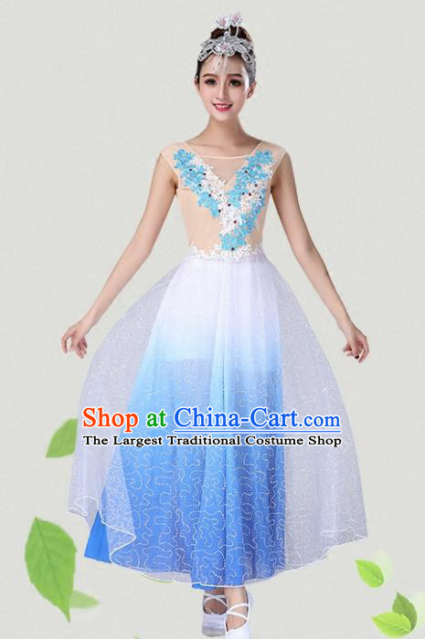 Chinese Traditional Classical Dance Blue Dress Group Dance Costumes for Women
