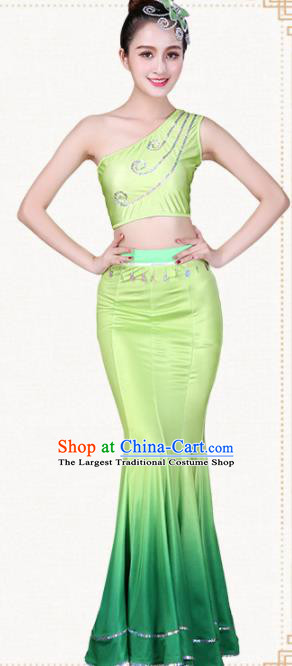 Chinese Traditional Dai Nationality Peacock Dance Green Dress Ethnic Pavane Folk Dance Costumes for Women