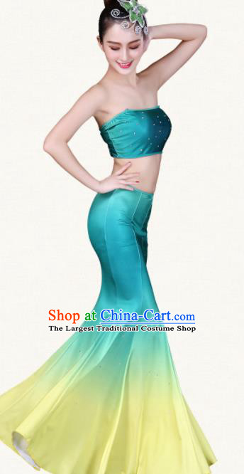 Chinese Traditional Dai Nationality Peacock Dance Dress Ethnic Pavane Folk Dance Costumes for Women