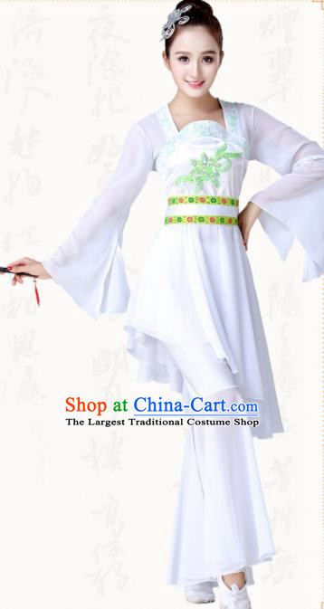 Chinese Traditional Classical Dance Fan Dance White Dress Group Dance Costumes for Women