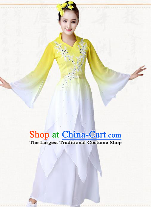 Chinese Traditional Classical Dance Umbrella Dance Yellow Dress Group Dance Costumes for Women