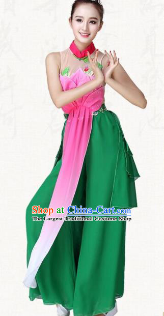 Chinese Traditional Classical Dance Lotus Dance Green Dress Group Dance Costumes for Women