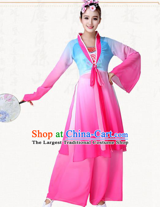 Chinese Traditional Classical Dance Pink Dress Fan Dance Group Dance Costumes for Women