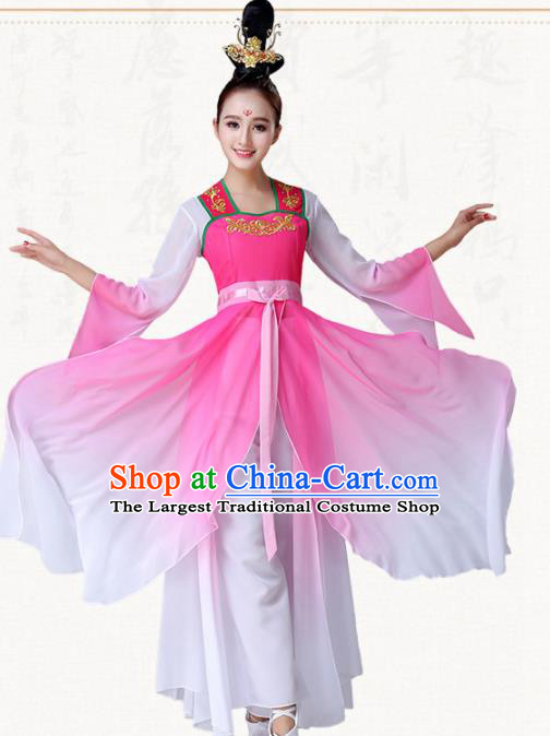 Chinese Traditional Classical Dance Pink Dress Umbrella Dance Group Dance Costumes for Women