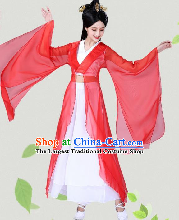 Chinese Traditional Classical Dance Red Hanfu Dress China Group Dance Costumes for Women