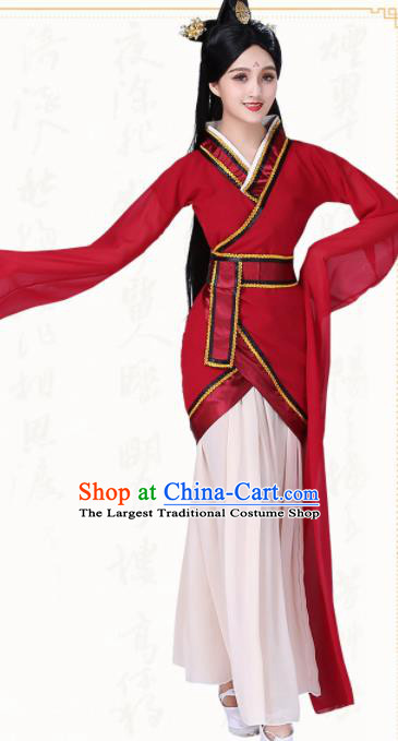 Chinese Traditional Classical Dance Red Hanfu Dress Ancient Water Sleeve Group Dance Costumes for Women