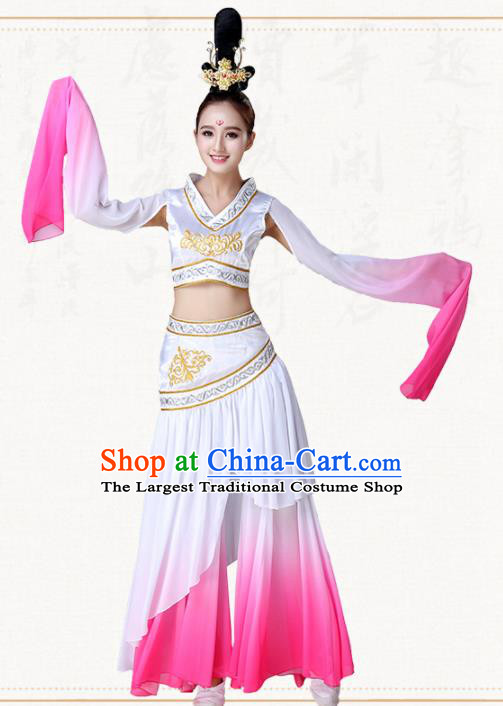 Chinese Traditional Classical Dance Pink Dress Ancient Peri Goddess Group Dance Costumes for Women
