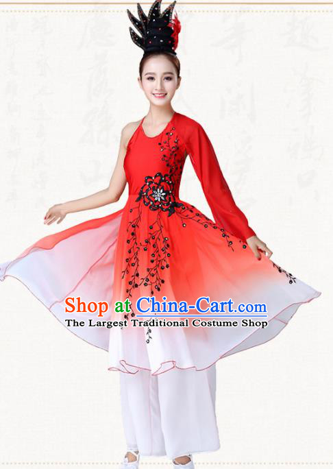 Traditional Chinese Classical Dance Umbrella Dance Red Dress Group Dance Costumes for Women