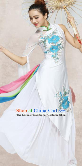 Traditional Chinese Classical Dance White Qipao Dress Group Umbrella Dance Costumes for Women