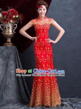 Traditional Chinese Wedding Costume Classical Qipao Dress Bride Red Cheongsam for Women