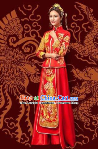 Traditional Chinese Wedding Xiuhe Suit Dress Ancient Bride Embroidered Costumes for Women