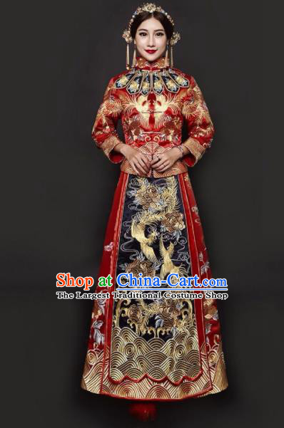 Traditional Chinese Embroidered Xiuhe Suit Red Wedding Dress Ancient Bride Costumes for Women