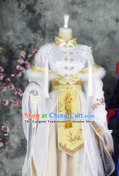 Traditional Chinese Embroidered Costumes Ancient Princess White Hanfu Dress for Women