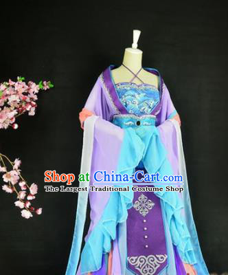 Traditional Chinese Cosplay Costumes Ancient Princess Peri Purple Hanfu Dress for Women