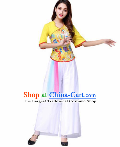 Traditional Chinese Folk Dance Yangko Costumes Fan Dance Group Dance Yellow Clothing for Women