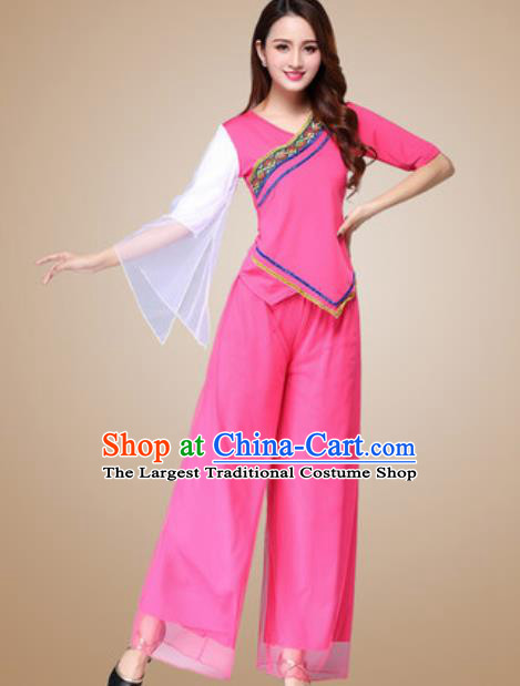 Traditional Chinese Folk Dance Yangko Costumes Fan Dance Group Dance Rosy Clothing for Women