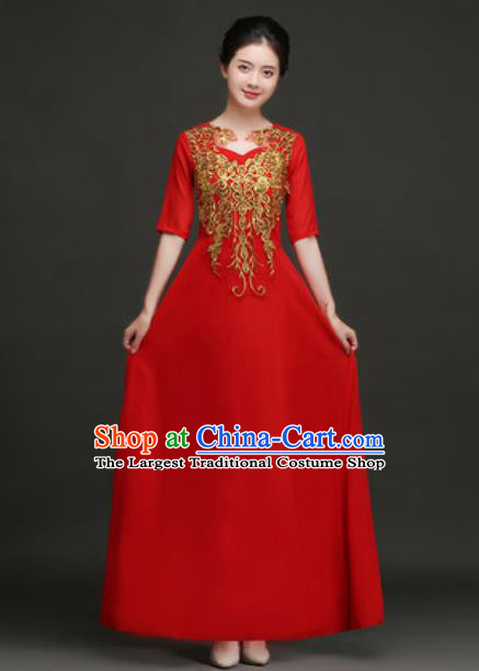 Top Grade Chorus Compere Costume Modern Dance Group Dance Red Dress for Women